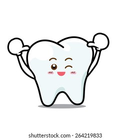 Happy Dental Smile Tooth Mascot Cartoon Character isolated on white background vector illustration