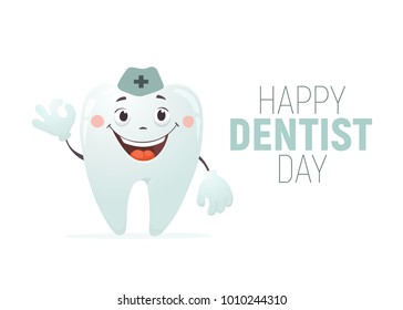 Happy Dentist day vector illustration. Smiling tooth with okay gesture isolated on white background. Cute cartoon tooth for child dentisrty.