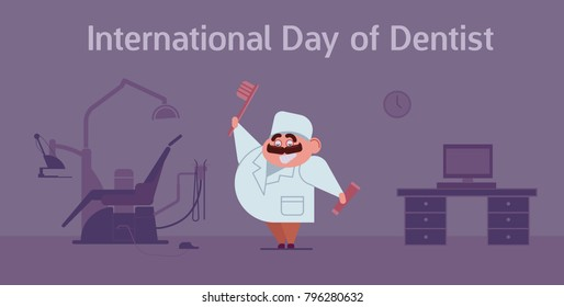 Happy dentist's day celebration card with doctor and dentist office and equipment. Flat style vector illustration