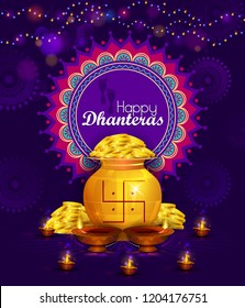 Happy Dhanteras Diwali light festival of India greeting background in vector