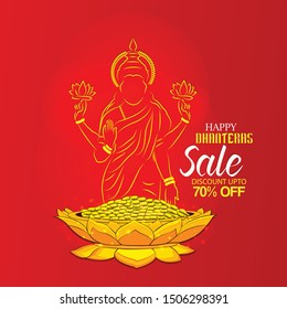 happy dhanteras Gold coin in pot for Dhantera celebration