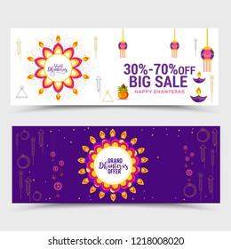 Happy Dhanteras Header Or Banner Design Set.