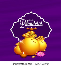 Happy Dhanteras Illustration Background With Golden Coin pot.