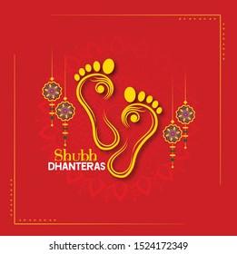 happy Dhanteras Indian Dhanteras Diwali festival celebration background. Happy dhanteras. Maa Lakshmi footprint