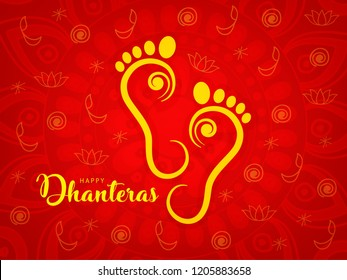 Happy Dhanteras. Maa Lakshmi Footprint on Traditional Background.
