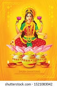 Happy Dhanteras, Shubh Dhanteras festival card with golden pot gold coin lakshmi footprint