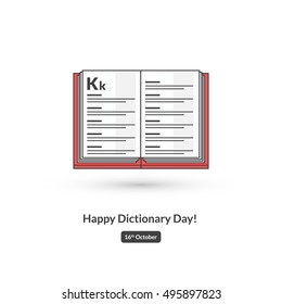 Happy Dictionary Day! (Line Art in Flat Style Vector Illustration Icon Design)