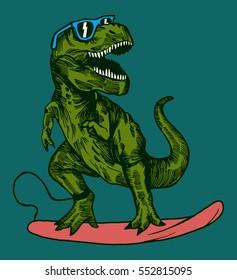 happy dinosaur surfer wearing sunglasses drawing.