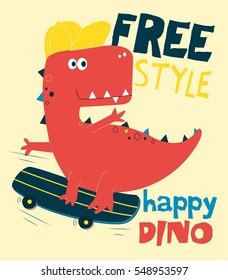 happy dinosaur vector illustration.T-shirt graphics for kids vector illustration