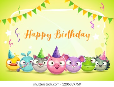 Happy Dirthday greetings. Cute childish decorative greeting card with funny found animals. Festive cartoon banner. Vector illustration.
