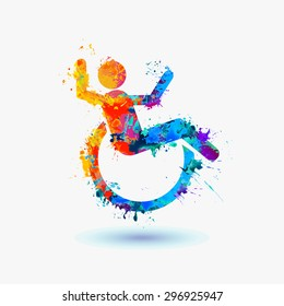 Happy disabled people. life-asserting watercolor sign. Vector