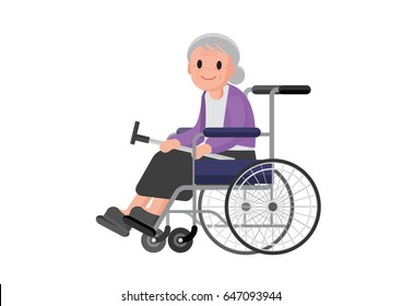 Happy disabled senior women in wheelchair. Old woman sitting in a wheelchair. Vector.