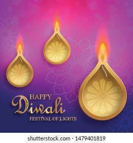 Happy Divali festival, Diya lamp with fire lighting for Diwali, Deepavali or Dipavali, the indian festival of lights on color background
