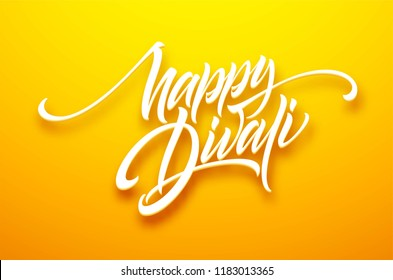 Happy divali festival of lights black calligraphy hand lettering text isolated on white background. Vector illustration EPS10
