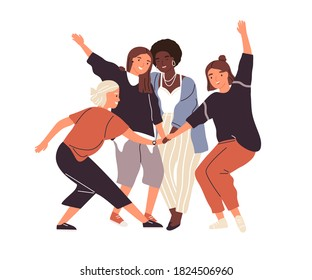 Happy diverse female friends putting hands together vector flat illustration. Group of smiling woman enjoying friendship, support and cooperation isolated. Funny people demonstrate gesture of unity