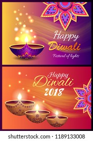 Happy Diwali 2018 festival of lights colorful poster with illuminating decorative candles on light background. Vector illustration of banners with mandalas