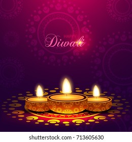 Happy Diwali Background with Beautiful Lamp.