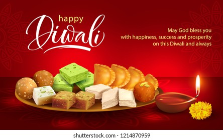 Happy Diwali background with clay diya and traditional sweets – laddu, gulab jamun, gujiya, halwa, barfi. Vector illustration.