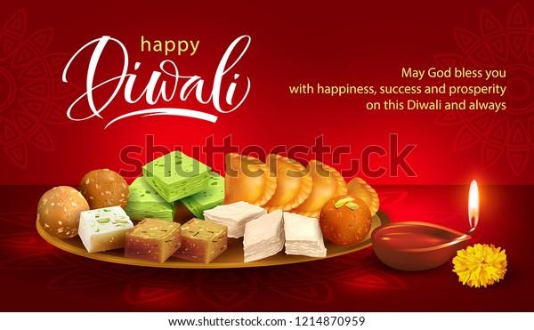Happy Diwali background with clay diya and traditional sweets – laddu, gulab jamun, gujiya, halwa, barfi. Vector illustration.