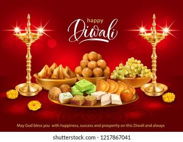 Happy Diwali background with gilt diyas and traditional sweets – laddu, gulab jamun, gujiya, halwa, barfi. Vector illustration.