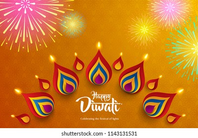 Happy Diwali. Background with the paper graphic of Indian Rangoli and fireworks.