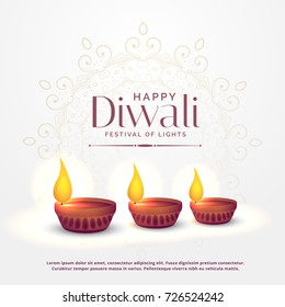happy diwali background with three diya lamps