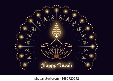 Happy Diwali Banner, Hindu festival of lights. Indian Deepavali holiday, Background with Diya lamp, burning Flame, glowing fireworks and sparkles. Outline style in golden colors, vector illustration