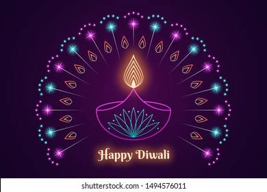 Happy Diwali Banner, Hindu festival of lights. Indian Deepavali holiday, Background with Diya lamp, burning Flame, glowing fireworks and neon sparkles. Colorful Outline style, vector illustration