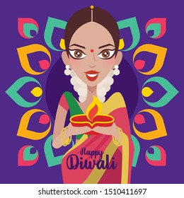 Happy Diwali. Beautiful Indian woman hands holding diya oil lamp, celebrating diwali with colourful Indian Rangoli background - vector