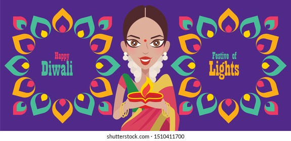 Happy Diwali. Beautiful Indian woman hands holding diya oil lamp, celebrating diwali with colourful Indian Rangoli element - vector