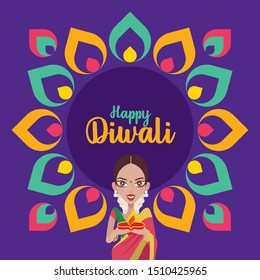 Happy Diwali. Beautiful Indian woman hands holding diya oil lamp, celebrating diwali with colourful Indian Rangoli design - vector