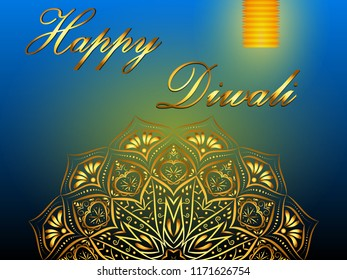 Happy Diwali blue background, hindu festival of lights, with golden mandala and paper lantern. Vector eps 10.
