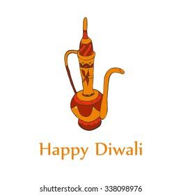 Happy diwali card in vector. Hand drawn