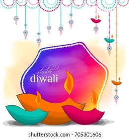 Happy Diwali Card. Vector illustration.