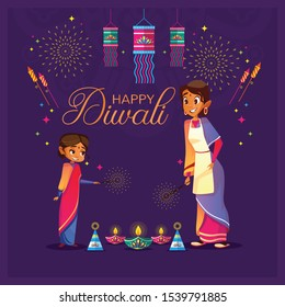 happy Diwali ,happy Diwali cartoon, Diwali template, greeting card, Cute cartoon, Diwali celebrating with, Mother and Daughter Celebrating Diwali,Deepavali light and fire festival