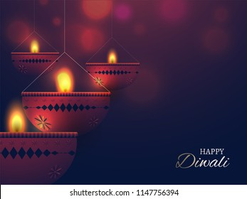 Happy Diwali celebration background with blurred lighting effect and illustration of hanging oil lamps. Can be used as greeting card.