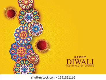 Happy Diwali celebration background. Top view of banner design decorated with illuminated oil lamps on patterned yellow background. vector illustration