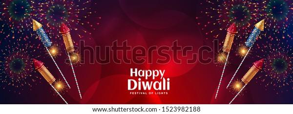 happy diwali celebration firework with bursting crackers
