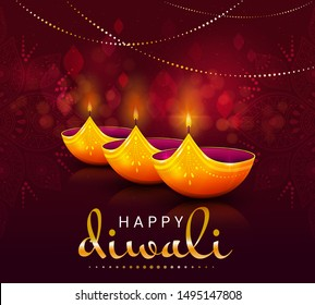 Happy Diwali celebration greeting card design with glowing lights burning in the darkness symbolising the triumph of light over darkness coinciding with the Hindu New Year, vector illustration