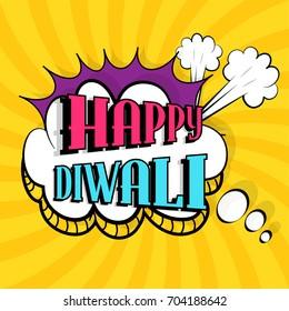 Happy Diwali celebrations background with popart style.