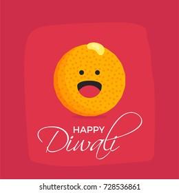 Happy Diwali Concept. Laughing Laddu emoji. Indian Festival of Light