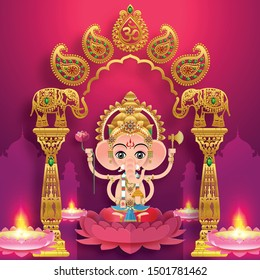 Happy Diwali, Deepavali, Dipavali  indian  festival  the festival of lights with gold diya patterned and crystals on paper color Background.
