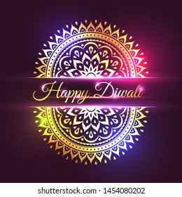 Happy Diwali design with brightly shining east ornament decoration. Beautiful mandala neon shining on purple background. Traditional and spiritual indian holiday congratulation vector illustration