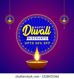 Happy Diwali Discounts Upto 50 percen Off Banner. Indian Festival of Light, Sale Offer, Logo design, Sticker, Concept, Greeting Card Template, Icon, Poster, Unit, Label, Web Mnemonic with Lights background