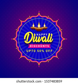 Happy Diwali Discounts Upto 50 percent Off Banner. Indian Festival of Light, Sale Offer, Logo design, Sticker, Concept, Greeting Card Template, Icon, Poster, Unit, Label, Web Mnemonic with Diya's