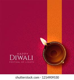 happy diwali diya background with diya decoration