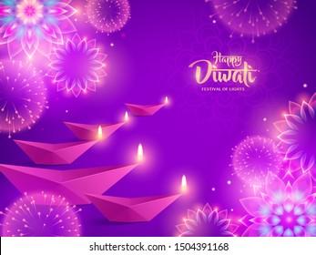 Happy Diwali with Diya and luminous flower Rangoli. Indian festival of lights.
