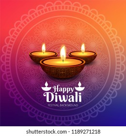 Happy diwali diya oil lamp festival card background