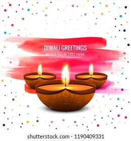 Happy diwali diya oil lamp festival shiny background