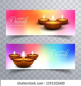 Happy diwali diya oil lamp festival headers set design